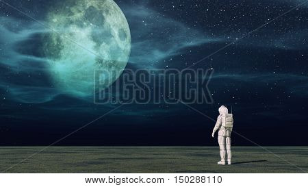 Astronaut standing on a planet and looks to the moon. This is a 3d render illustration