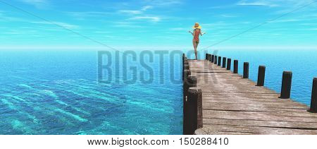 Beautiful women wearing a swimsuit stands at the end of a pontoon admiring the ocean.This is a 3d render illustration