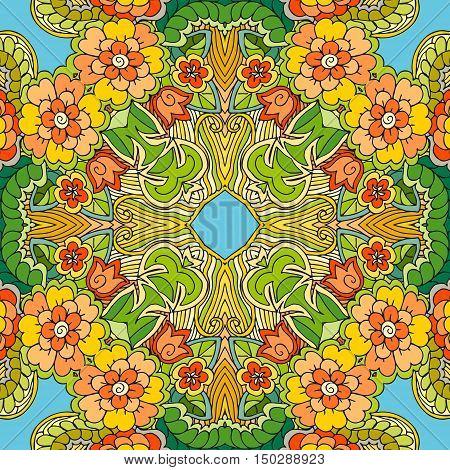 Decorative floral ornament. Summer bandana print. Vector illustration.