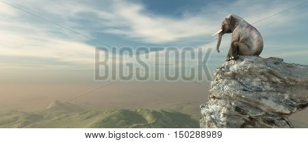 Elephant sitting on edge of a cliff and admiring the landscape. This is a 3d render illustration
