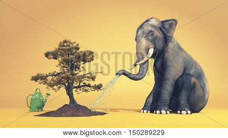 Elephant watering a tree with trunk. This is a 3d render illustration