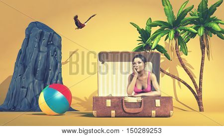 Dreamy girl sitting in a suitcase surrounded by tropical beach elements. This is a 3d render illustration
