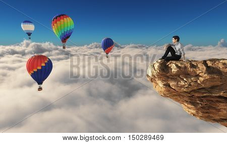 Man sits on a rock and admiring hot air balloons over the clouds. This is a 3d render illustration