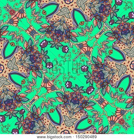 Decorative floral ornament. Bandana print or kerchief square pattern design.