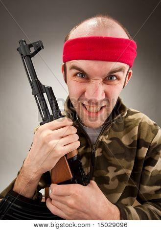 Crazy Soldier With Machine Gun