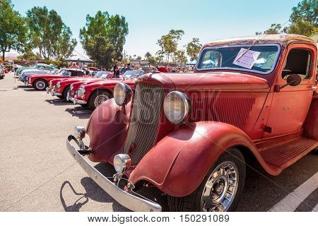 Laguna Beach, CA, USA - October 2, 2016: Rust red 1971 Dodge truck displayed at the Rotary Club of Laguna Beach 2016 Classic Car Show. Editorial use.