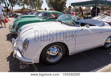 Laguna Beach, CA, USA - October 2, 2016: White Porsche 1600 Super displayed at the Rotary Club of Laguna Beach 2016 Classic Car Show. Editorial use.