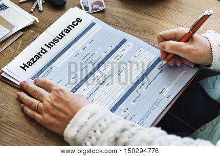 Hazard Insurance Form Compensation Claim Concept