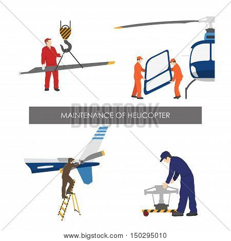 Repair and maintenance of helicopter . Set of helicopter parts in flat style on white background. Vector illustration