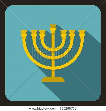 Menorah icon in flat style on a white background vector illustration