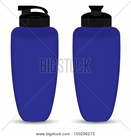 Blue Thermos bottle set of Front and Side view isolated on white background.