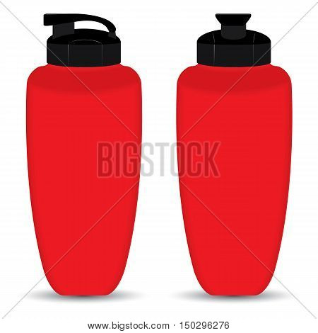 Red Thermos bottle set of Front and Side view isolated on white background.