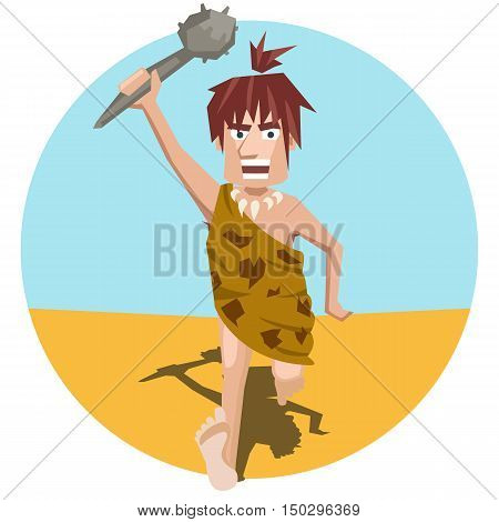 ancient man pursues prey - funny cartoon vector illustration