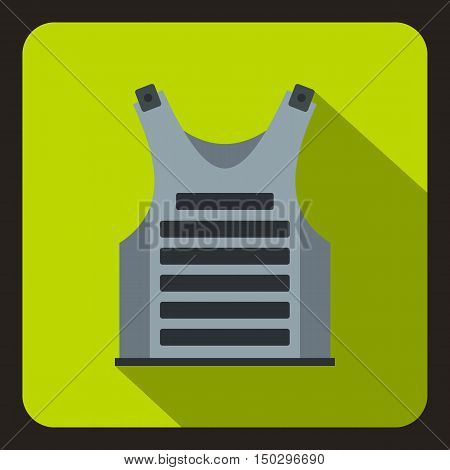 Grey paintball vest icon in flat style on a green background vector illustration