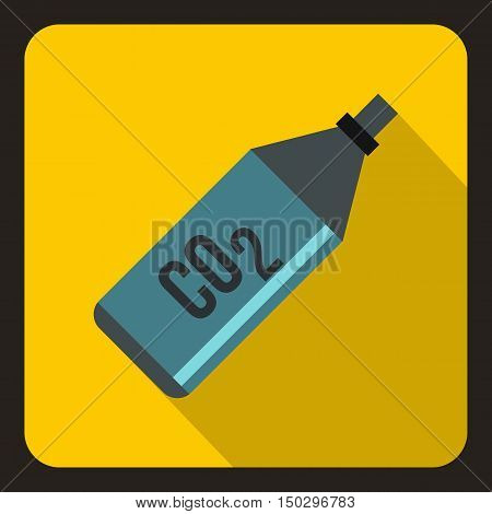 CO2 bottle icon in flat style on a yelllow background vector illustration