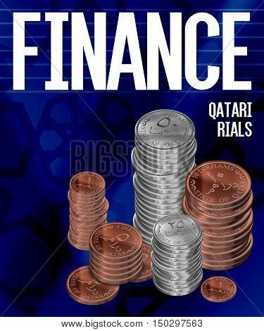 Qatar Dirham Riyal Coins Stacks Finance Poster