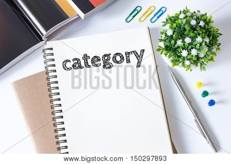 category, Text message on white paper book on white desk / business concept