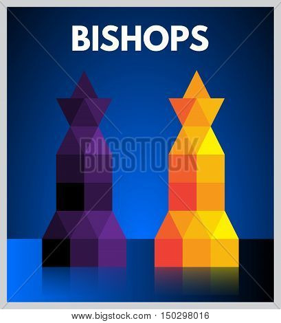 Modern Style Purple And Orange Mosaic Chess Pieces - Bishops