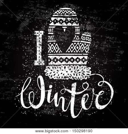 I love winter text and knitted woolen mitten with heart. Seasonal shopping concept design for banner or label. Stylized drawing chalk on blackboard. Isolated vector illustration.
