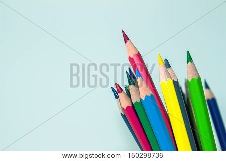 color pencil on white background / outstanding character concept / Individuality concept / pencils concept / focus pencil red / vintage tone