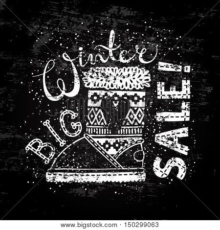 Winter Special banner or label with boot. Business seasonal shopping concept big sale. Stylized drawing chalk on blackboard. Isolated vector illustration.