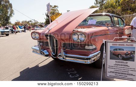 Laguna Beach, CA, USA - October 2, 2016: Pink 1958 Edsel Pacer owned by Robert Dwyer and displayed at the Rotary Club of Laguna Beach 2016 Classic Car Show. Editorial use.
