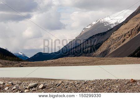 Athabasca river running through Jasper national park, Canada