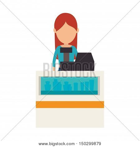avatar woman cashier of beauty store business. vector illustration