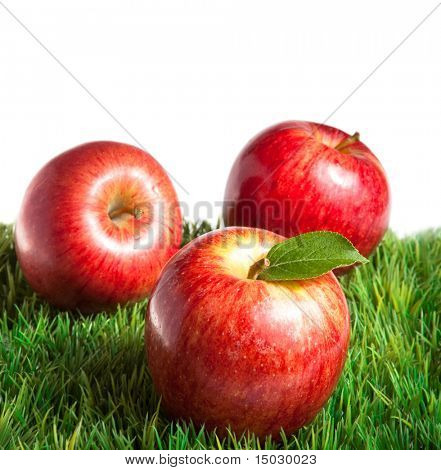 Royal Gala apples on grass with white background