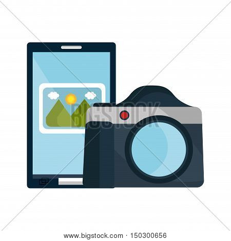 photographic camera device with smartphone with picture icon. vector illustration