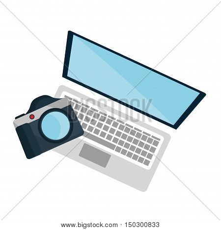 laptop computer and photographic camera technology devices. vector illustration