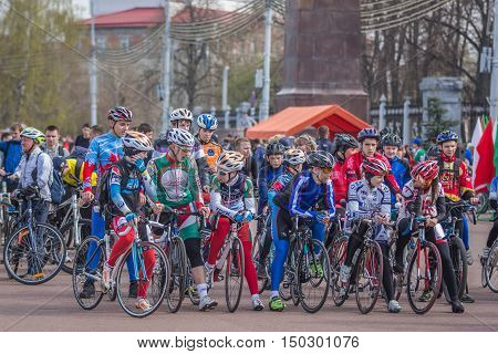 Gomel Belarus - April 10 2016: Velosports on Lenin Square at the opening of bicycling season 2016