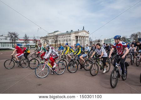 Gomel Belarus - April 10 2016: Bicyclists begin movement in honor of the bicycle season in 2016 on Lenin Square