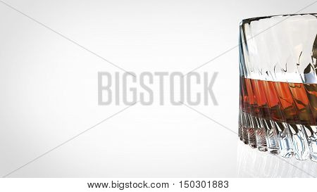 Glass of scotch whiskey on a white background. 3d illustration.