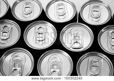 aluminium cans abstract background / dark tone