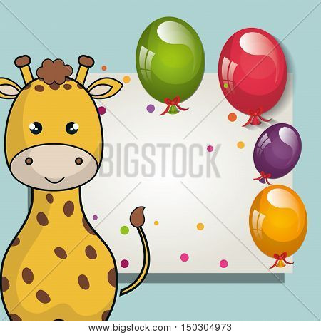 card with cute giraffe animal and ballons and party decorations. colorful design. vector illustration