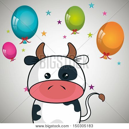 cute cow animal and ballons and party decorations. colorful design. vector illustration