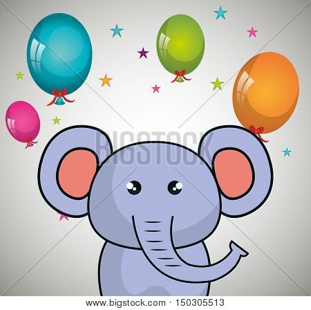 cute elephant animal and ballons and party decorations. colorful design. vector illustration