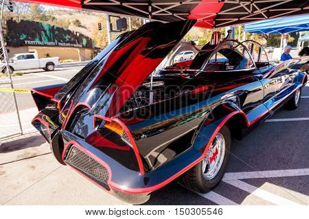 Laguna Beach, CA, USA - October 2, 2016: Black and red 1966 Batmobile displayed at the Rotary Club of Laguna Beach 2016 Classic Car Show. Editorial use.
