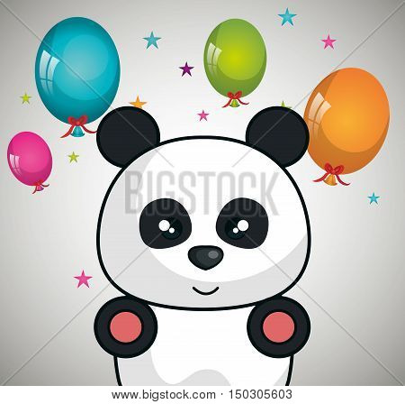 cute panda bear animal and ballons and party decorations. colorful design. vector illustration