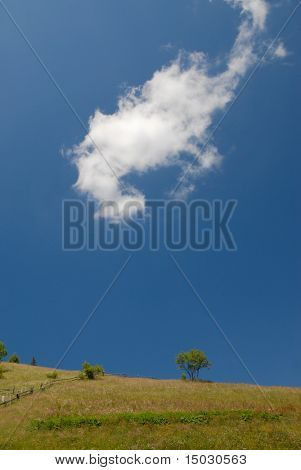 summer mountains landscape with lonesome cloud