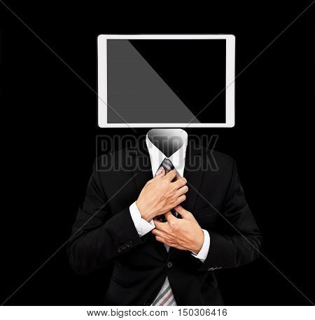 Businessman with digital tablet instead of head, isolated on black background