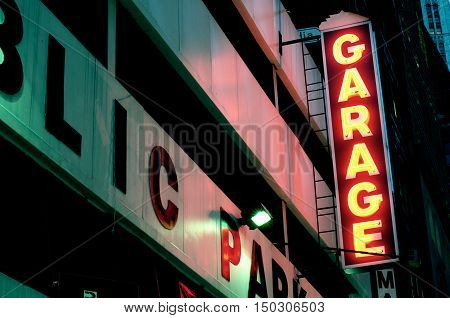 Neon Parking Garage Sign New York City