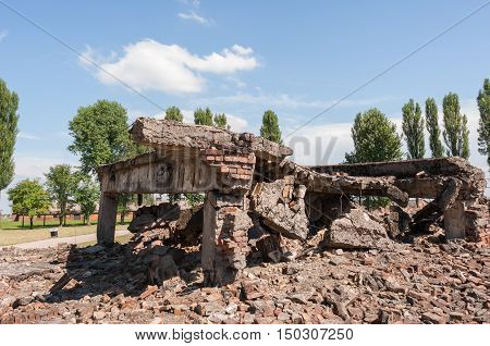 Ruins of Bireknau Concentration Camp Poland Europe