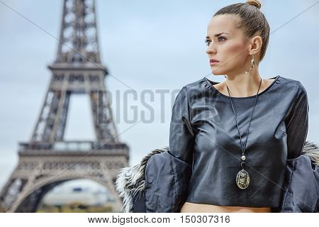 Modern Fashion-monger In Paris, France Looking Aside