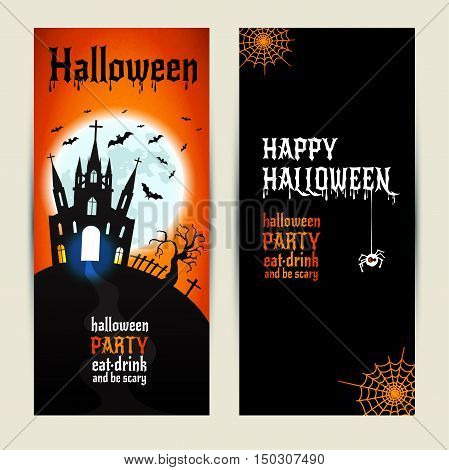 Halloween Vertical Banners Set On Orange And Black Background.