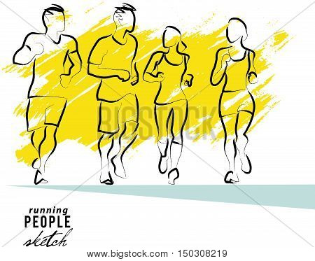 Vector artistic hand drawn sketch of running human silhouette isolated on white background. Sport sketch illustration. Running jogging people figure. Athlete run.