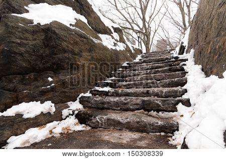 Snowy Stone Park Stairs
