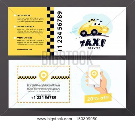 Vector flat taxi car illustration isolated on white background. Cartoon style. Funny cute driving car. Taxi service logo design template.