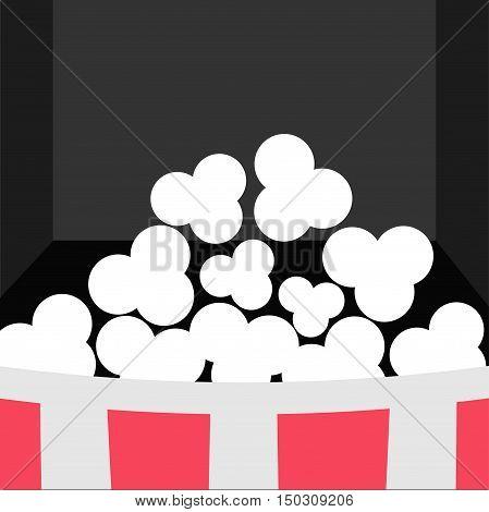 Super Big Popcorn Icon. Red White Strip Box. Movie theater Cinema screen in flat design style. Black background. Vector illustration